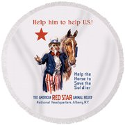 Help The Horse To Save The Soldier Round Beach Towel