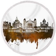Helsinki Skyline City Brown Round Beach Towel