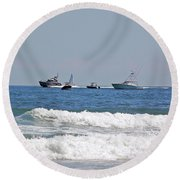 Helter Skelter At Sea Round Beach Towel