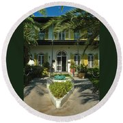 Hemingways House Key West Round Beach Towel