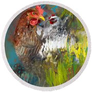 Hen Love Round Beach Towel