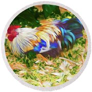 Hen With Chick Round Beach Towel