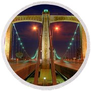 Hennepin Avenue Bridge Minneapolis Round Beach Towel