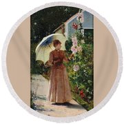 Henri Emile De Sachy France 19th Century Elegant Young Lady In The Garden Walk At Hollyhocks Round Beach Towel