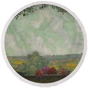 Henri Le Sidaner 1862 - 1939 View From The Terrace Round Beach Towel
