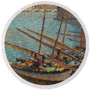 Henri Martin 1860 - 1943 Boats To Collioure Round Beach Towel