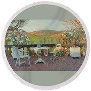 Henri Martin 1860 - 1943 Tea Time On The Terrace Marquayrol Round Beach Towel