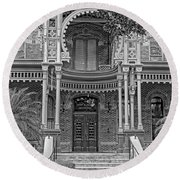 Henry B. Plant Museum Entry Bw Round Beach Towel