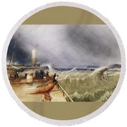 Henry Barlow Carter 1795-1867 Loss Of The Scarborough Lifeboat 24 May 1836 Round Beach Towel