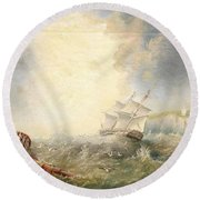 Henry Redmore Running Up The Coast In Heavy Seas, 1856 Round Beach Towel