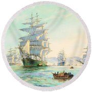 Tranquil Morning - Foochow, The Famous Clipper Thermopylae At Anchor Round Beach Towel