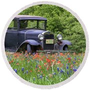 Henry The Vintage Model T Ford Automobile Round Beach Towel by Robert Bellomy