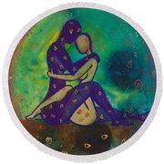 Her Loves Embrace Divine Love Series No. 1006 Round Beach Towel