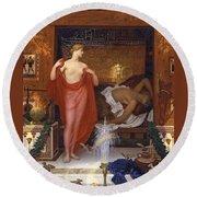 Hera In The House Of Hephaistos Round Beach Towel