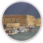 Heraklion Castle Crete Greece Round Beach Towel