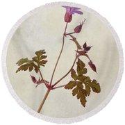 Herb Robert - Wild Geranium  #flower Round Beach Towel
