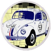 Herbie The Love Bug Round Beach Towel