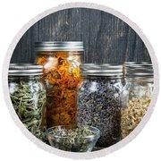 Herbs In Jars Round Beach Towel