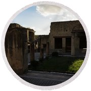 Herculaneum Ruins - Mosaic Tile Streets And Sun Splashes Round Beach Towel