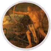 Hercules Kills The Symphalic Bird 1520 Round Beach Towel
