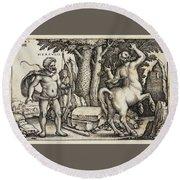Hercules Shooting The Centaur Nessus Round Beach Towel