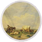 Herdsman And Herd Round Beach Towel