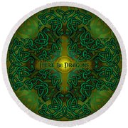 Here Be Dragons Round Beach Towel