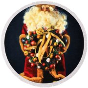 Here Comes Santa Round Beach Towel by Chris Armytage
