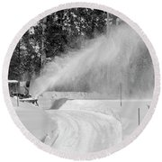 Here Comes That Snowblower Again Round Beach Towel