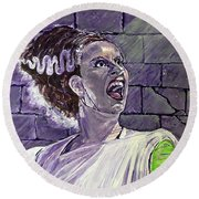 Here Comes The Bride Round Beach Towel