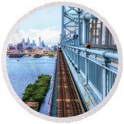 Here Comes The Train Round Beach Towel