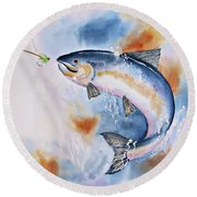 Here Fishy, Fishy Round Beach Towel