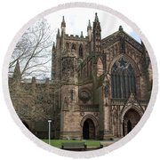 Hereford Cathedral  England Round Beach Towel