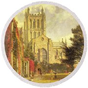 Hereford Cathedral Round Beach Towel by John William Buxton Knight