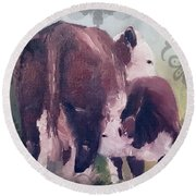 Hereford Cow Calf Round Beach Towel