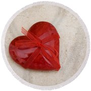 Here's My Heart Round Beach Towel
