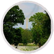 Heroes And A Monument Round Beach Towel