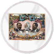 Heroes Of The Colored Race  Round Beach Towel by War Is Hell Store