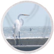 Heron At Rest Round Beach Towel