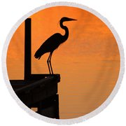 Heron At Sunset Round Beach Towel