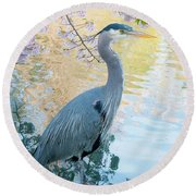 Heron - Beacon Hill Park Round Beach Towel