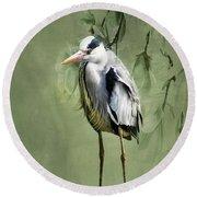 Heron Egret Bird Round Beach Towel