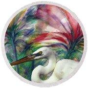 Heron Flair Round Beach Towel