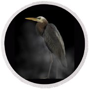 Heron On A Foggy Morning Round Beach Towel