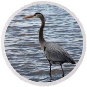 Heron On  Lake Guntersville Round Beach Towel