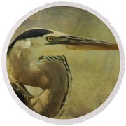 Heron On Texture Round Beach Towel