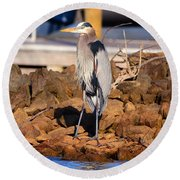 Heron On The Rocks Round Beach Towel