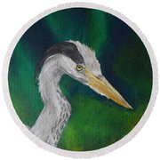 Heron Painting Round Beach Towel