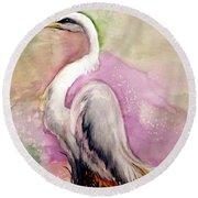 Heron Serenity Round Beach Towel