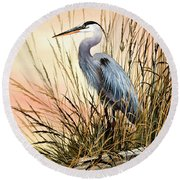 Heron Sunset Round Beach Towel by James Williamson